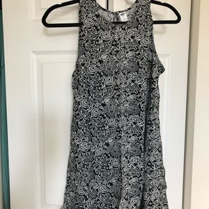 Old Navy: White and White Patterned Swing Dress